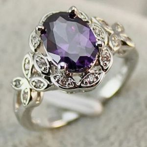 925 stamped purple butterfly ring 7, 10